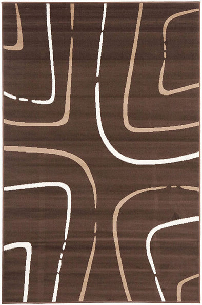 Curves Rug Brown Beige Cream - Fantastic Rugs