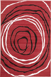Modern Circles Pattern Red Black White - Fantastic Rugs