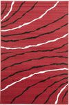 Ripples Pattern Rug Red Black Off White - Fantastic Rugs