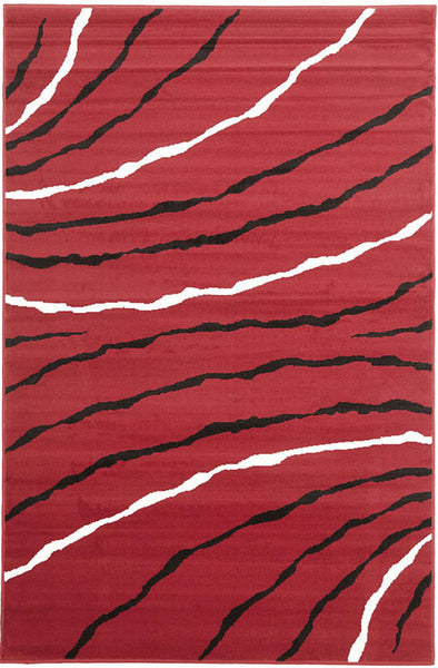 Ripples Pattern Rug Red Black Off White