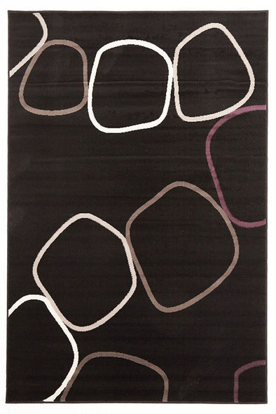 Blocks Rug Black Grey Cream Purple - Fantastic Rugs