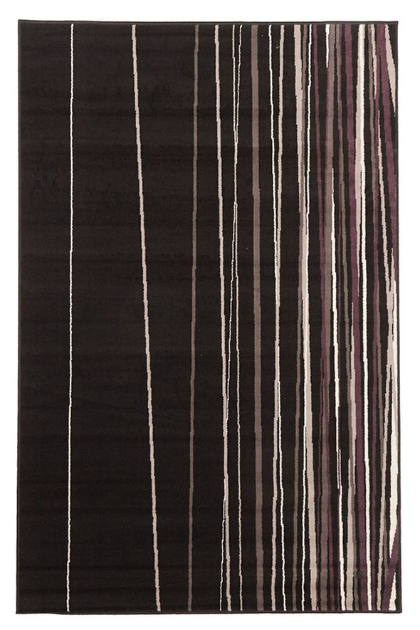 New Lines Rug Black Grey Cream Purple - Fantastic Rugs