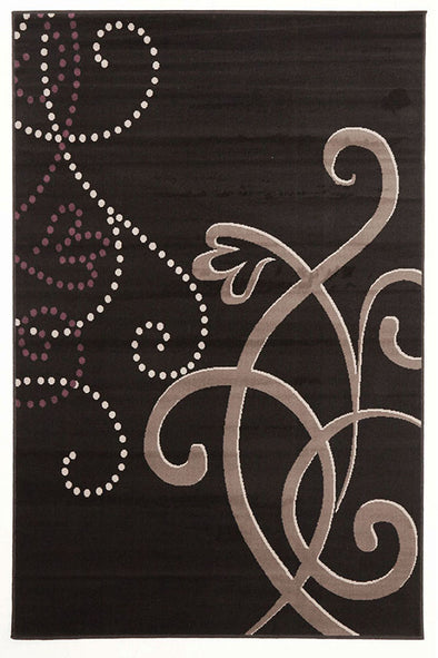 Art Deco Rug Black Grey Purple - Fantastic Rugs