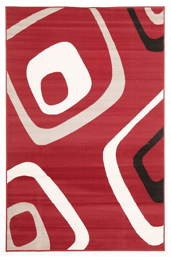 Retro Squares Rug Red Black Grey - Fantastic Rugs