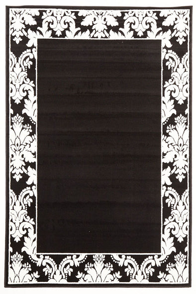 Damask Border Pattern Rug Black White - Fantastic Rugs