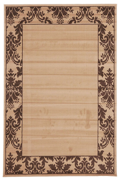 Damask Border Pattern Rug Beige Brown - Fantastic Rugs