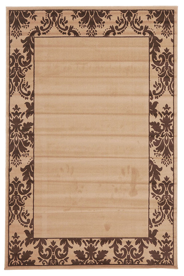 Damask Border Pattern Rug Beige Brown