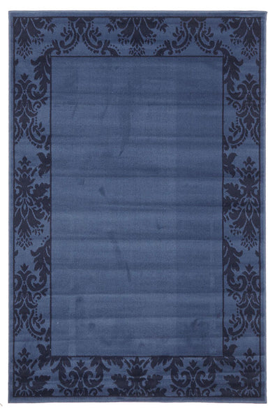Damask Border Design Rug Blue Navy - Fantastic Rugs