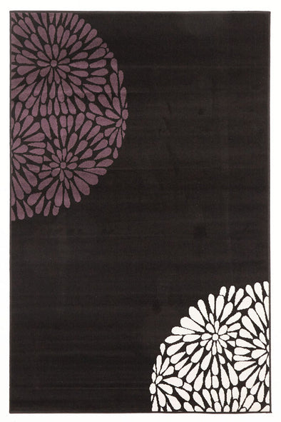 Modern Burst Pattern Rug Black Purple - Fantastic Rugs