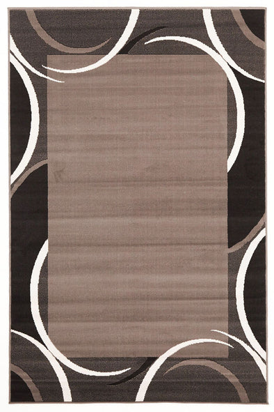 Crescent Border Pattern Rug Black Grey