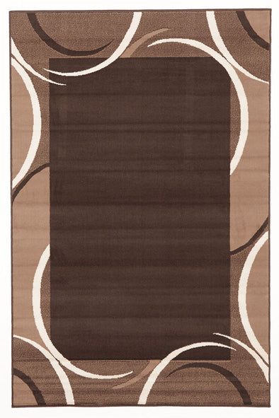Crescent Border Pattern Rug Brown Beige