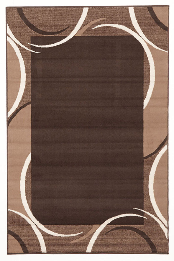 Crescent Border Pattern Rug Brown Beige - Fantastic Rugs
