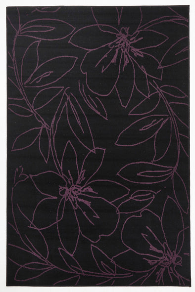 Flower Outline Rug Black Purple - Fantastic Rugs