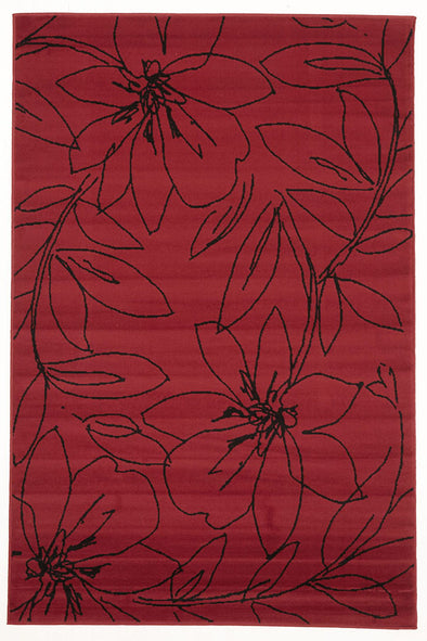 Flower Outline Rug Red Black - Fantastic Rugs