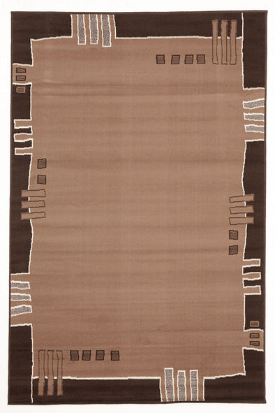 Geometrical Border Rug Beige Brown