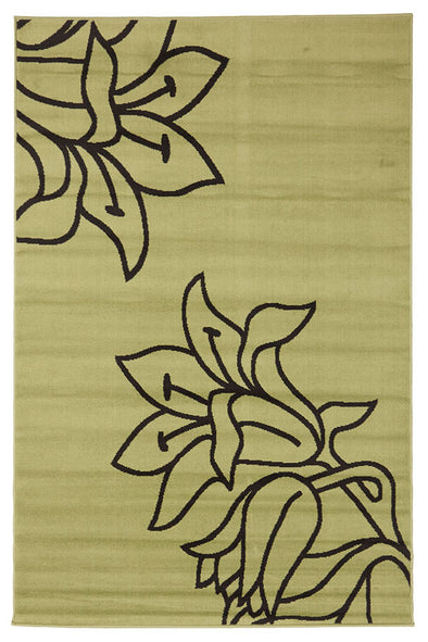 Elegant Flower Outline Rug Green