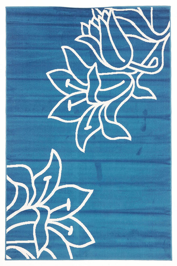 Elegant Flower Outline Rug Blue - Fantastic Rugs
