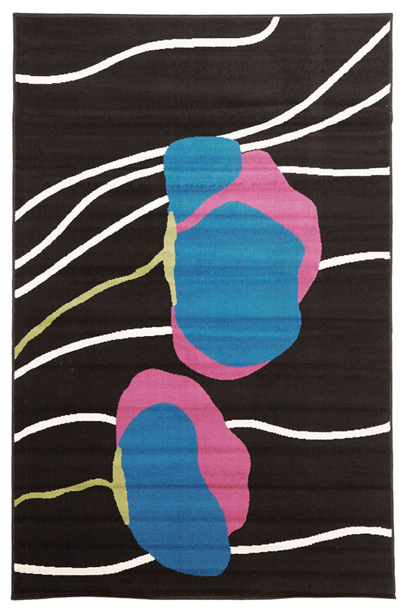 Poppies Modern Rug Black - Fantastic Rugs
