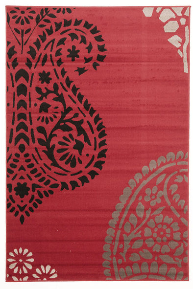 Funky Paisley Design Rug Red Black - Fantastic Rugs
