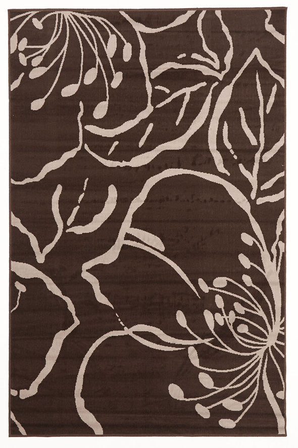 Modern Flower Outline Rug Brown - Fantastic Rugs