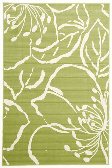 Modern Flower Outline Rug Green - Fantastic Rugs