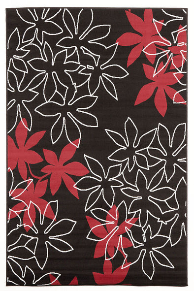 Maple Leaf Design Rug Black