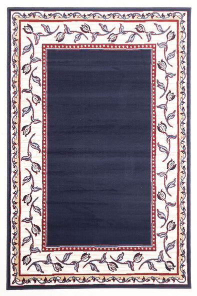 Modern Border Pattern Navy Cream Rug