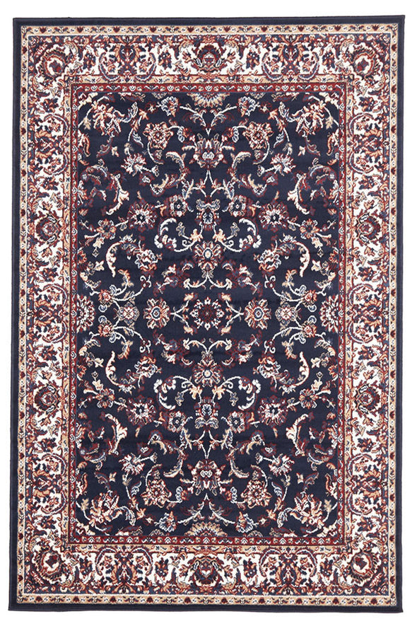 Traditional All Over Design Navy Rug - Fantastic Rugs