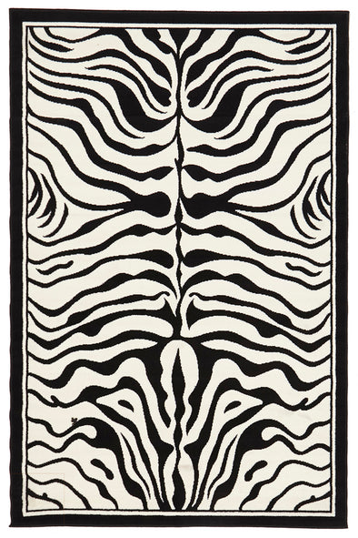 Zebra Print Black And Off White Rug - Fantastic Rugs