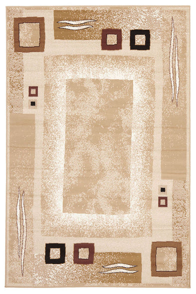 Border Pattern Beige And Brown Rug - Fantastic Rugs