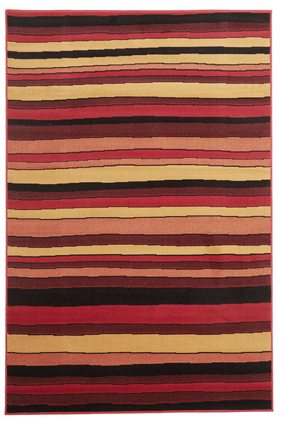 Multi Stripes Rug Red Beige Black