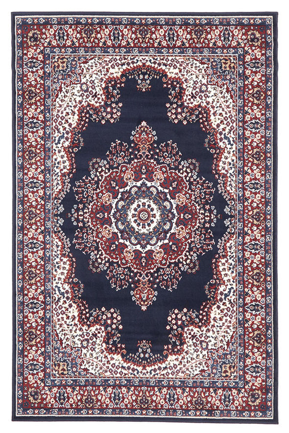 Traditional Pattern Medallion Rug Navy Red - Fantastic Rugs