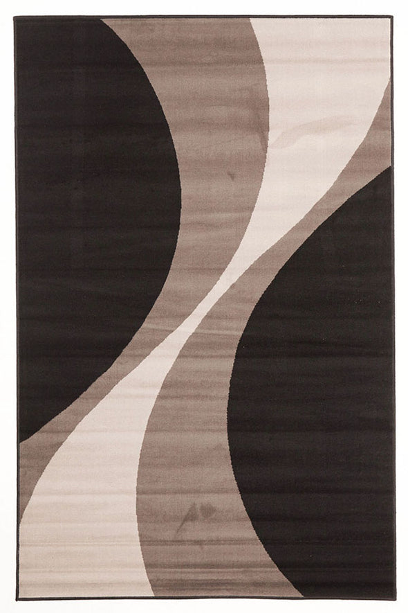 Funky Retro Pattern Rug Black Charcoal Grey - Fantastic Rugs