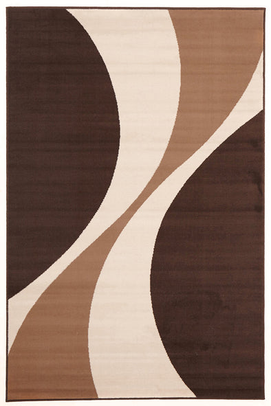 Funky Retro Pattern Rug Brown Beige Cream