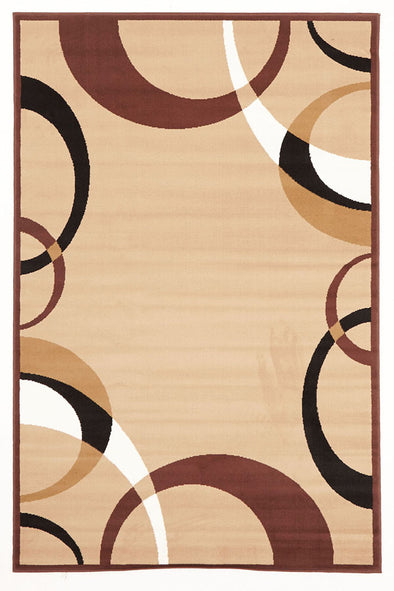 Cool Beige And Brown Border Pattern Rug - Fantastic Rugs