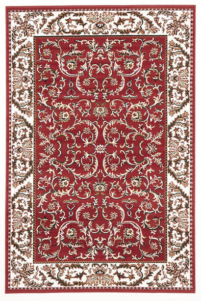 Classic Patterned Rug Red