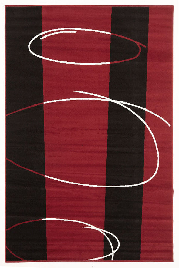 Retro Pattern Rug Red Black Off White - Fantastic Rugs