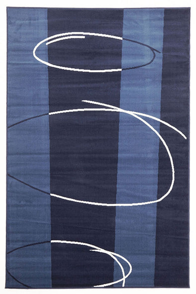 New Modern Retro Design Rug Blue Navy - Fantastic Rugs