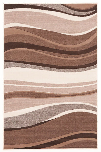 Modern Beige Brown Rug Wave Pattern