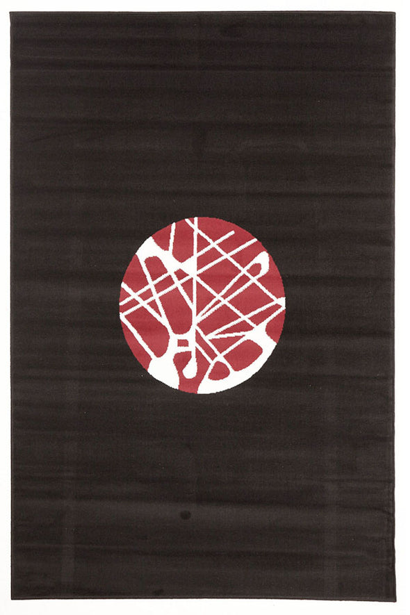 Cool Modern Rug Black Red Off White - Fantastic Rugs