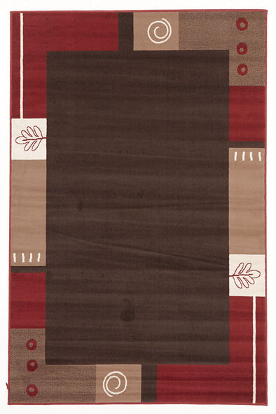 Border Pattern Rug Brown Beige Red - Fantastic Rugs