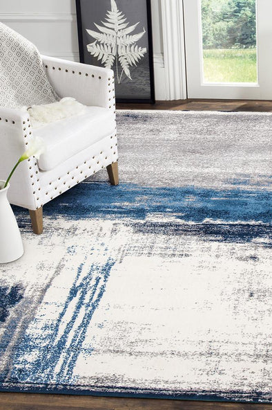 Anita Abstract Rug Blue Cream