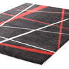 Modern Lines Rug Black Red - Fantastic Rugs
