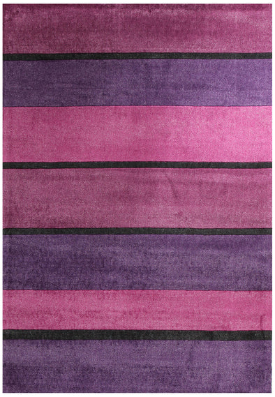 Modern Purple Pink Black Bands Rug