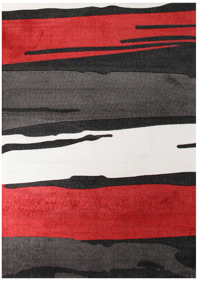 Brush Strokes Rug Black Red