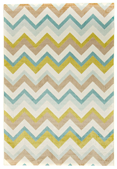Stunning Chevron Design Rug Green Brown Cream - Fantastic Rugs