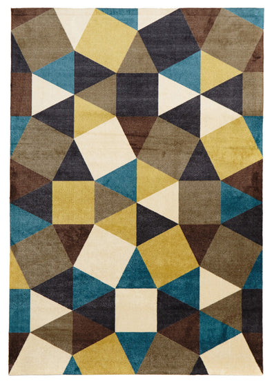 Modern Pixels Rug Blue Green Brown