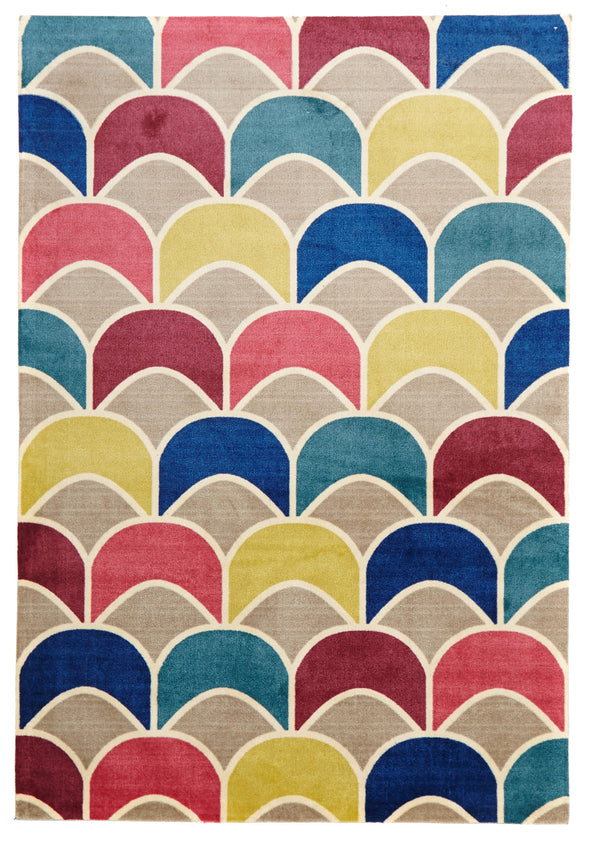 Fish Scale Design Rug Raspberry Blue - Fantastic Rugs