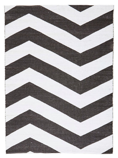 Coastal Indoor Out door Rug Chevron Black White - Fantastic Rugs