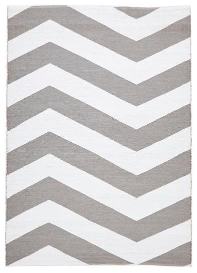 Coastal Indoor Out door Rug Chevron Grey White - Fantastic Rugs